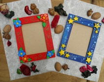blue and red photo frame handmade  with polymer clay
