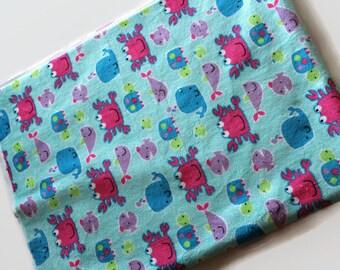 Minky Blanket - Choose your backing color; Sea Animals Minky Blanket; Baby Blanket; Double sided Minky Blanket