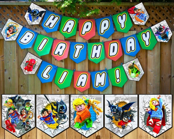 Lego Justice League Inspired Birthday Banner Lego Justice League Banner Customizable Lego Justice League Happy Birthday Banner Lego Bunting