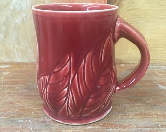 Seconds- Carved Porcelain Mug in Red 14 oz