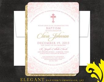 ELEGANT . baptism/communion . printable or printed 5x7