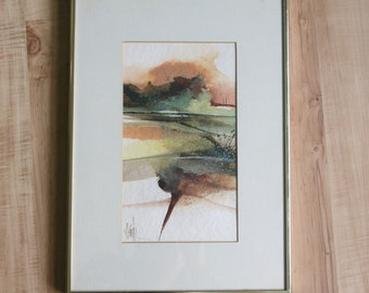 Vintage Original Abstract Painting Signed matted & framed Mid Century Modern