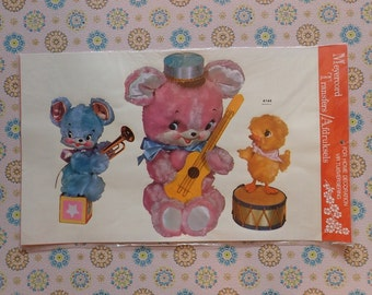 Vintage Meyercord Decal Transfer 'Plush Toy Musicians'