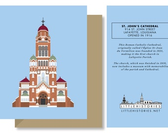 Lafayette Greeting Card, St. John's Cathedral Ornate Church Architecture, Acadiana, Louisiana