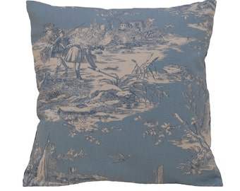 BLEU PETIT, Deco, pillow, french fabric, toile de jouy, cushion, blue, deko, coussin, 16x16 inch, Sofakissen