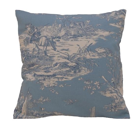 bleu petit deco pillow french fabric toile de jouy. Black Bedroom Furniture Sets. Home Design Ideas