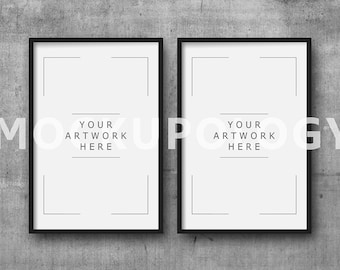8x12 set of two vertical digital black frame mockup on concrete wall background styled photography poster mockup instant download