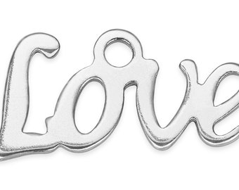 10 Pieces Steel Charms Love 6x13 mm (STF400128)