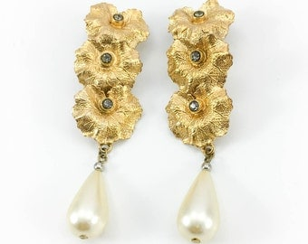 Henry Perichon Leaves and Pearl Drop Earrings - 1950s