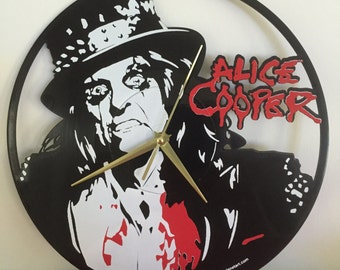 "Alice Cooper vinyl record wall art - upcycled from an original 12"" vinyl record"