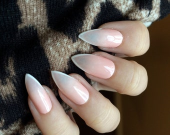 Ombre/Soft French Stiletto Hand Painted Acrylic Nail Set