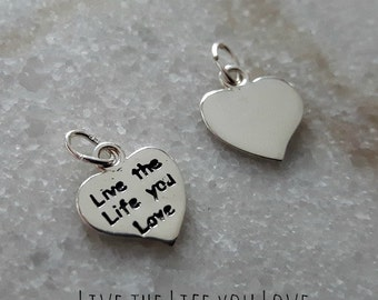 Sterling Silver (925) 12mm Live the Life you Love Heart Charm