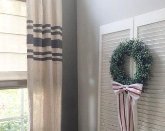Curtains Farmhouse Curtains - Grain Sack - Drop Cloth, Rustic, Farmhouse, Shabby Chic, French Country