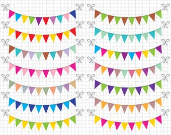 "Bunting Banners Clipart: ""BUNTING CLIPART"" Party Bunting, Banner Clipart, Banner Flag Clipart, Party Banners, Holiday Bunting, SALE!"