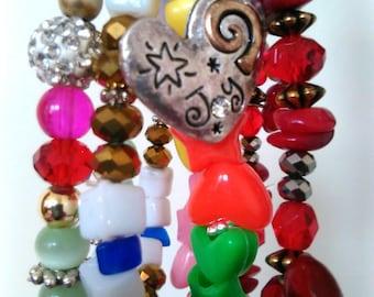 Party Sparkles Bracelet Set Layering Bracelets Valentine Bracelet