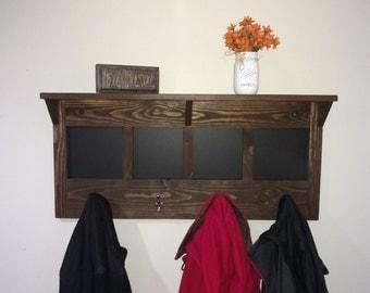 Large Coat Rack, Entryway Shelf, Chalkboard,  Big Coat Rack, Rustic Shelf, Rustic Coat Rack, Entryway Organizer, Mudroom Shelf, Coat Hooks