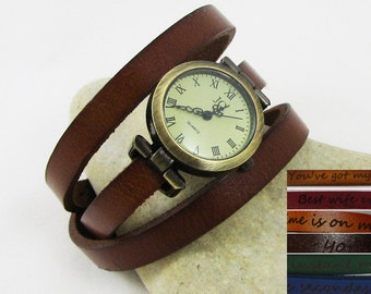 Gift wrist watches personalized womens wrap watch choice of colour leather watch, vintage woman watch wife gift