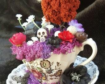 Teacup Fairy Garden (Gothic Theme)