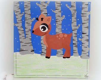 """Table bed child little Fawn, canvas for Baby Doe """"Forêt Blanche"""", 30x30cm, grey white blue"""