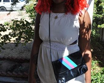 Vintage 1980s Black Cross Shoulder Bag with Pink Green and Blue Stripes