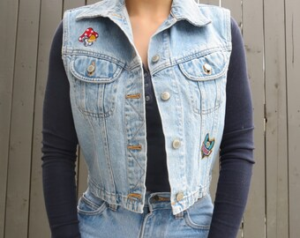 SALE* Vintage Applique Denim Vest