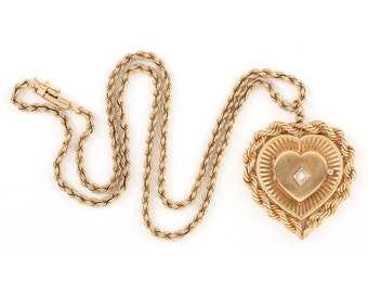 Estate 14K Solid Yellow Gold Diamond Heart Locket Twisted Rope Chain Necklace 38.9 Grams