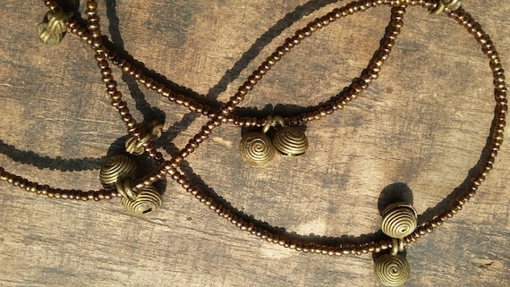 ASHANTI West African waist beads, vintage brass charms and bells, copper seed beads, Fair Trade
