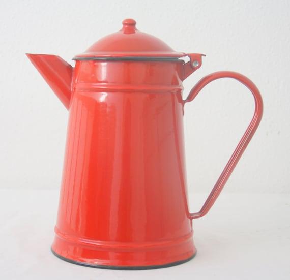 Vintage Red Enamel Coffee Pot with Hinged Lid