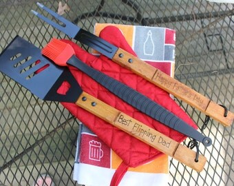 Father's Day 5 piece Personalized BBQ Grill Set- Best Flipping Dad
