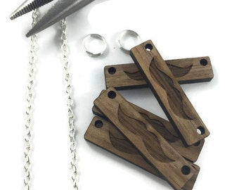 Mustache Wood Pendant/Qty 5/Solid Wood/DIY jewelry/Bar Necklace/30mmx8mm