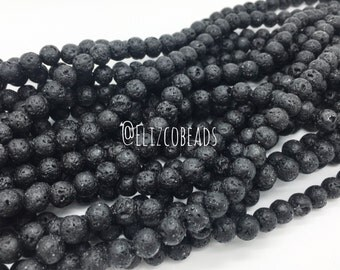 """Natural Lava Rock, round bead,8mm 16"""" strand #RBB-8MM-031"""