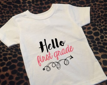 Hello first grade girl youth tee