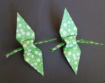 Large origami paper cranes - Green Cherry Blossom Sakura flower print - great for weddings, parties