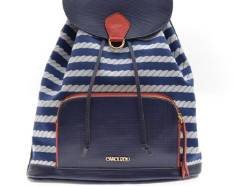 Blue and whites stripes leather backpack with zip pocket
