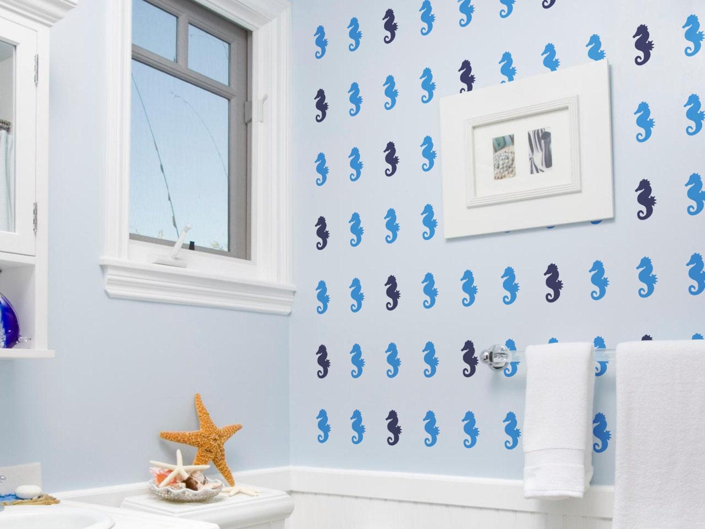 Wall Sticker Bathroom Seahorse Wall Sticker Seahorse Wall Decal Gold Wall Decal