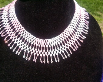 Beautiful Bugle, Bicone, Pearl and Seed Bead necklace