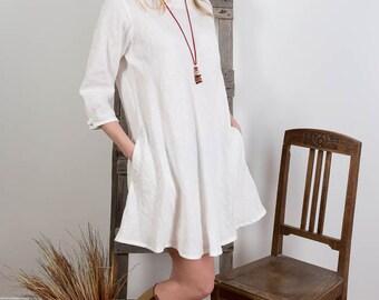 Linen tunic Dress , Loose Linen Dress, Oversized Tunic, White Womens Linen dress, Casual dress, Long Linen top, 3/4 sleeves, Handmade