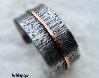 Bracelet, adjustable strap, organic wood-effect texture textured bracelet, silver bracelet, female bracelet,