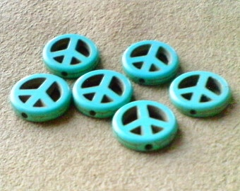 Turquoise peace sign beads; turquoise dyed Howlite, peace sign beads, 15x4mm, 6pcs/1.60.