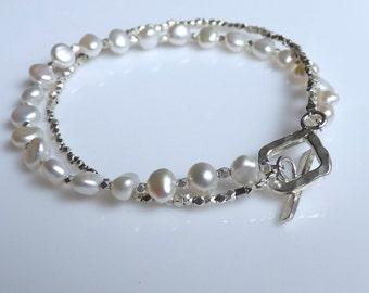 Silver Armband mit Perlen
