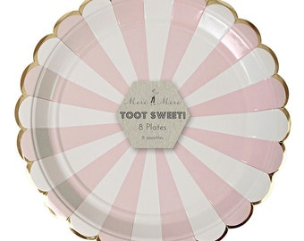 Dusty Pink and White Large Plates - Set of 8 Meri Meri Pastel Pink and White Stripe Large Plates- Great for b'day parties & showers!
