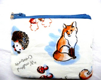Woodland creatures with fox coin purse