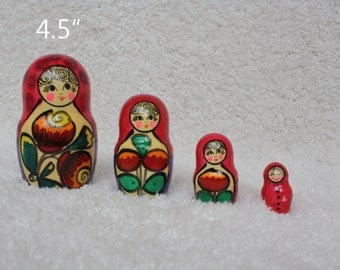 Floral Matryoshka Red Nesting dolls Russian Stacking dolls