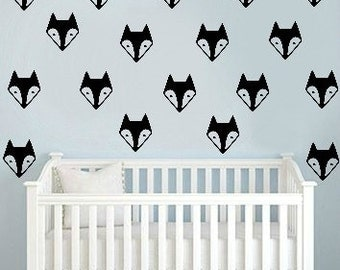 Fox Wall Decals, Woodland Room Decals, Fox Decals, Fox Theme Wallpaper, Removable Wall Decal, Fox Head Decals, Fox Wall Decals