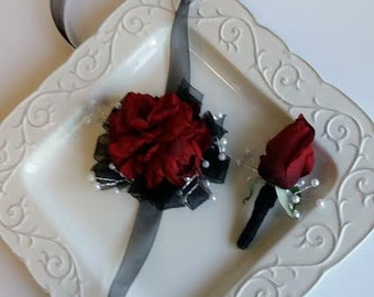 ON SALE Wrist Corsage Red & Black Wrist Corsage with Matching Boutonniere 29.99