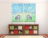 Print Canvas Children Room Elephants Nursery Decor Kids Room Interior SET of 2 Paintings Colorful Nursery Art Nursery Design