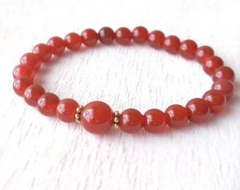 Delicate Carnelian Bracelet, Womens Beaded Stretch Bracelet, Carnelian Gemstone Bracelet, Unique Everyday Jewelry