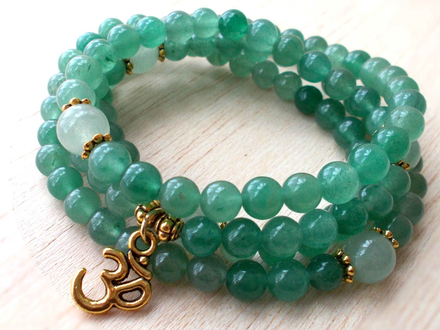 Green Aventurine Mala 108 Beads Mala Necklace Japa Mala Om