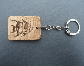 Tropical Fish Oak key Ring