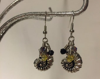 Ursula, Shell, With, Black, Yellow, And, Purple, Crystals, Dangle Earrings, Inspired By Disney's, The Little Mermaid